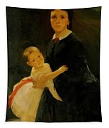 Portrait Of Shestova With Daughter Tapestry
