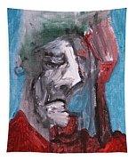 Portrait On Blue Tapestry