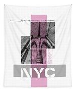 Poster Art Nyc Brooklyn Bridge Details - Pink Tapestry