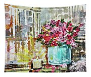 Potted Roses With Candle Tapestry