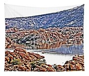 Prescott Arizona Watson Lake Rocks, Hills Water Sky Clouds 3122019 4867 Tapestry