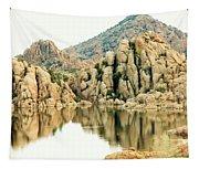 Prescott Arizona Watson Lake Water Mountains Lake Rocks Sky Reflections 4831 Tapestry