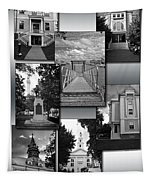 Provincetown Town Hall Cape Cod Massachusetts Collage Bw Vertical Tapestry