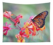 Queen Butterfly On Mexican Bird Of Paradise  Tapestry