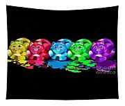 Rainbow Painted Cats Tapestry