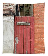 Red Alley Door Chinatown Washington Dc Tapestry by Edward Fielding