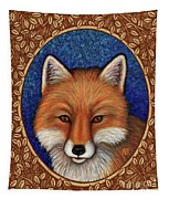 Red Fox Portrait - Brown Border Tapestry by Amy E Fraser