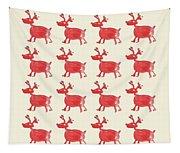 Red Reindeer Pattern Tapestry