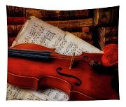 Red Rose And Violin With Sheet Music Tapestry