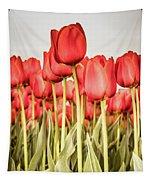 Red Tulip Field In Portrait Format. Tapestry by Anjo Ten Kate