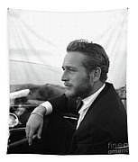 Reflecting, Paul Newman, Movie Star, Cruising Venice, Enjoying A Cuban Cigar, Black And White Tapestry
