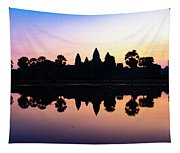 Reflections Of Angkor Wat - Siem Reap, Cambodia Tapestry