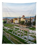 Remains Of The Roman Agora And Cityscape Of  Athens, Greece Tapestry