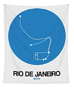 Rio De Janeiro Blue Subway Map Tapestry