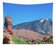 Roque Cinchado In Front Of Mount Teide Tapestry