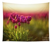 Rows Of Magenta Painterly Tulips Tapestry
