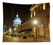 Rue Saint Paul In Old Montreal At Night Tapestry