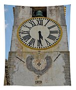 Saint Mary Church Clock Tower In Tavira. Portugal Tapestry