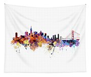 San Francisco Watercolor Skyline Tapestry