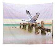Sandhill Crane And Old Dock Tapestry