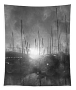 Sausalito California Mystical Magical Harbor Sunrise Tapestry