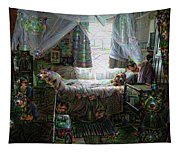 Scary Bedroom Surreal Google Deep Dream Tapestry