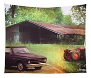 Scenes From The Past - Trucks And Tractors Tapestry
