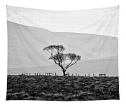 Scottish Highland Tree In Black And White Tapestry