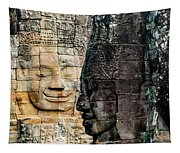 Sculptures At Bayon Temple, Angkor Tapestry
