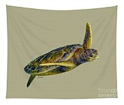 Sea Turtle 2 - Solid Background Tapestry