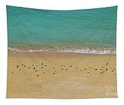 Seagulls Relaxing In Deserta Beach Tapestry