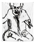Seated Man Portrait Tapestry
