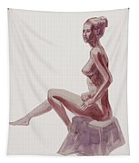 Seated Nude Woman Watercolor Tapestry
