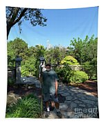 Self Portrait 20 - Aligned With A Half Moon Over Downtown Austin At Zilker Botanical Garden Tapestry
