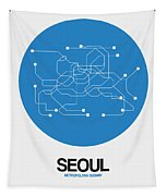 Seoul Blue Subway Map Tapestry