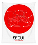 Seoul Red Subway Map Tapestry