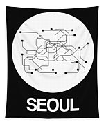 Seoul White Subway Map Tapestry