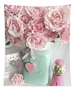 Shabby Chic Pink Roses In Aqua Mason Jar Romantic Cottage Floral Print Home Decor Tapestry