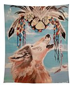Shaman Mask And Wolf Tapestry