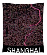 Shanghai City Map Tapestry by Helge