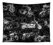 Shiny Bikes Galore In Black And White Tapestry