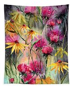 Shiny Rudbeckia And Thistle Tapestry