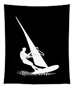 Silhouette Of A Sportsman Doing Windsurfing On His Board With Sail Tapestry