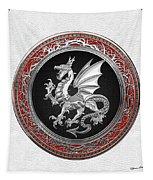 Silver Winged Norse Dragon - Icelandic Viking Landvaettir On Black And Silver Medallion Over White L Tapestry