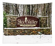 Sky Valley Georgia Welcome Sign In The Snow Tapestry