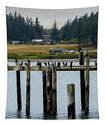 Small Village Along The Columbia River Tapestry by Mae Wertz