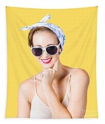 Smiling Pin-up Girl Tapestry