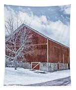 Snowing At The Farm Tapestry by Kim Hojnacki