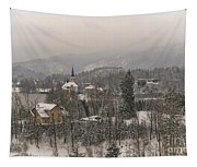 Snowy Bled In Slovenia Tapestry