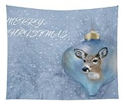 Snowy Deer Ornament Christmas Image Tapestry
